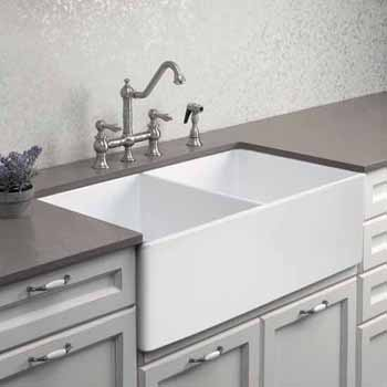 Houzer Platus Series Fireclay Apron Front or Undermount Double Bowl Kitchen Sink, White Finish, 33''W x 20''D x 9-1/4''H