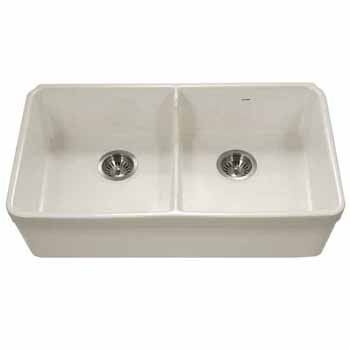 Houzer Platus Series Fireclay Apron Front or Undermount Double Bowl Kitchen Sink with Low Divide, Biscuit Finish, 32''W x 18''D x 7-1/8''H