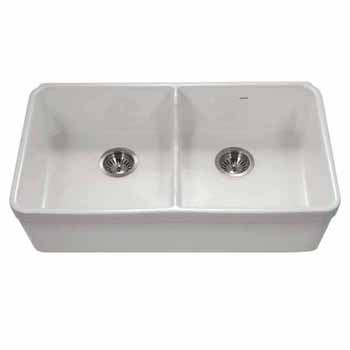 Houzer Platus Series Fireclay Apron Front or Undermount Double Bowl Kitchen Sink with Low Divide, White Finish, 32''W x 18''D x 7-1/8''H