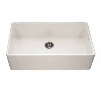 Houzer Platus Series Fireclay Apron Front or Undermount Single Bowl Kitchen Sink, Biscuit Finish, 36''W x 20''D x 9-1/4''H