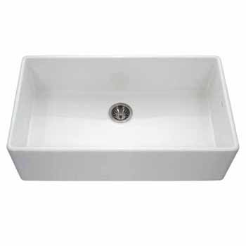 Houzer Platus Series Fireclay Apron Front or Undermount Single Bowl Kitchen Sink, White Finish, 36''W x 20''D x 9-1/4''H