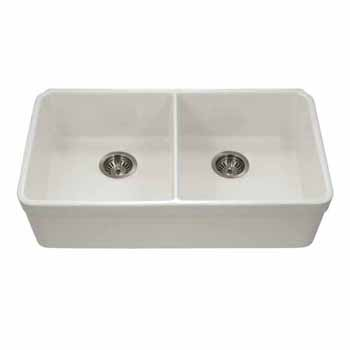 Houzer Platus Series Fireclay Apron Front 50/50 Double Bowl Sink, Biscuit Finish, 32-3/16''W x 18''D x 7-7/16''H