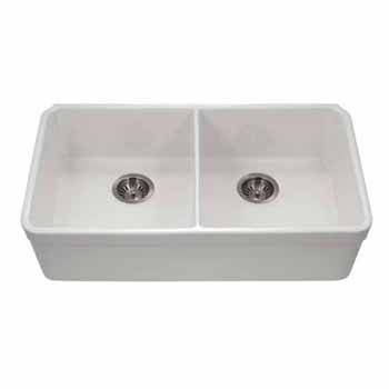Houzer Platus Series Fireclay Apron Front 50/50 Double Bowl Sink, White Finish, 32-3/16''W x 18''D x 7-7/16''H