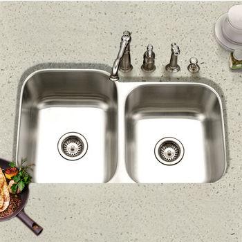 Houzer - Undermount 60/40 Double Bowl Kitchen Sink