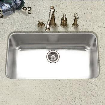 Houzer Eston Undermount Large Single Bowl in Stainless Steel, 32-3/8'' W x 18-7/8'' D, 9'' Bowl Depth