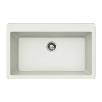 Houzer Quartztone Granite Topmount Large Single in Cloud Color, 33'' W x 20-7/8'' D, 9-1/2'' Bowl Depth