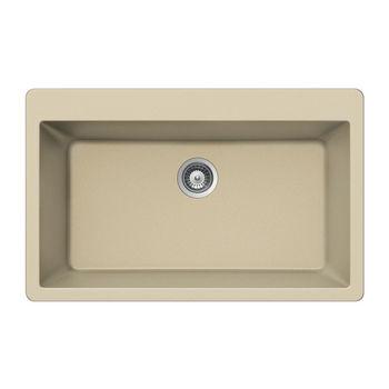 Houzer Quartztone Granite Topmount Large Single in Sand Color, 33'' W x 20-7/8'' D, 9-1/2'' Bowl Depth