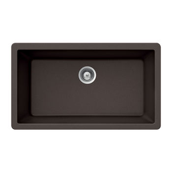 Houzer Quartztone Granite Undermount Large Single in Mocha Color, 33'' W x 18-7/16'' D, 9-1/2'' Bowl Depth