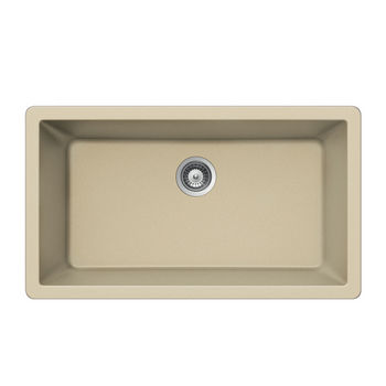Houzer Quartztone Granite Undermount Large Single in Sand Color, 33'' W x 18-7/16'' D, 9-1/2'' Bowl Depth