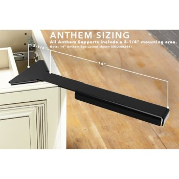 "Federal Brace Anthem 14"" Eco-Lucent Corner Support in Black, 6-1/2"" W x 14"" D x 2"" H"