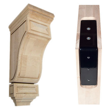 "Federal Brace Scalloped Mission Wood Corbel with Corbel Rib in Maple, 5"" W x 7"" D x 14"" H"