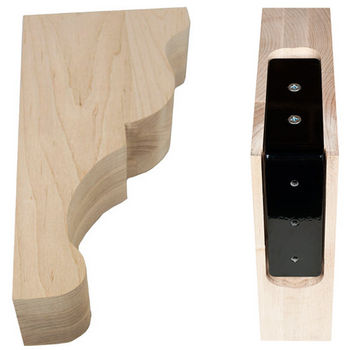 "Federal Brace Lexington Bar Bracket Wood Corbel with Corbel Rib in Maple, 3"" W x 6-9/16"" D x12-3/4"" H"