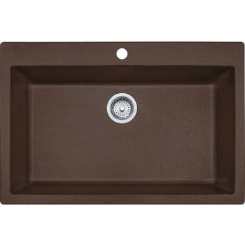 Franke Primo Large Single Bowl Drop In Kitchen Sink, Granite, Fragranite Dark Brown