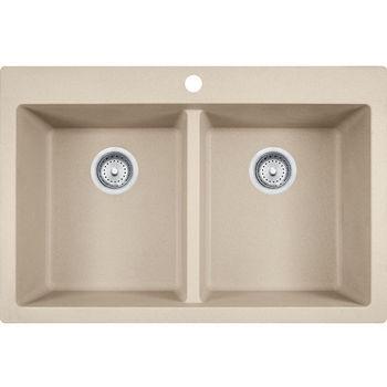 Franke Primo Double Bowl Drop In Kitchen Sink, Granite, Fragranite Champagne