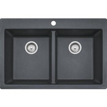 Franke Primo Double Bowl Drop In Kitchen Sink, Granite, Graphite