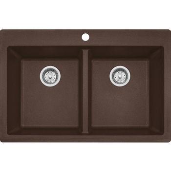 Franke Primo Double Bowl Drop In Kitchen Sink, Granite, Fragranite Dark Brown