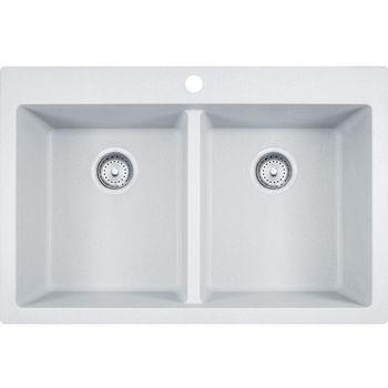 Franke Primo Double Bowl Drop In Kitchen Sink, Granite, Fragranite Pure White