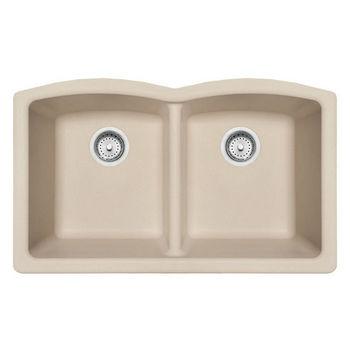 Franke Ellipse Double Bowl Undermount Kitchen Sink, Granite, Fragranite Champagne