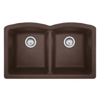 Franke Ellipse Double Bowl Undermount Kitchen Sink, Granite, Fragranite Mocha