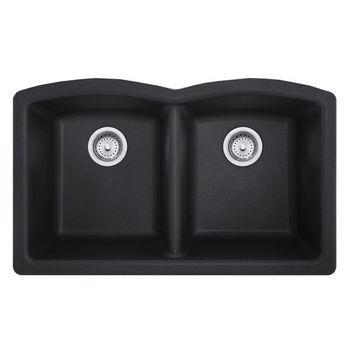 Franke Ellipse Double Bowl Undermount Kitchen Sink, Granite, Fragranite Onyx