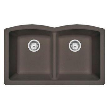 Franke Ellipse Double Bowl Undermount Kitchen Sink, Granite, Fragranite Storm