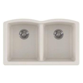 Franke Ellipse Double Bowl Undermount Kitchen Sink, Granite, Fragranite Vanilla