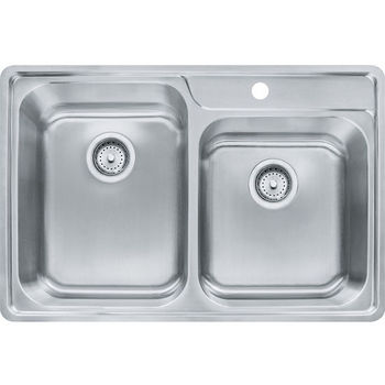 Franke Evolution Offset Double Bowl Drop In Kitchen Sink with A Deck 1 Hole, Stainless Steel, 18 Gauge