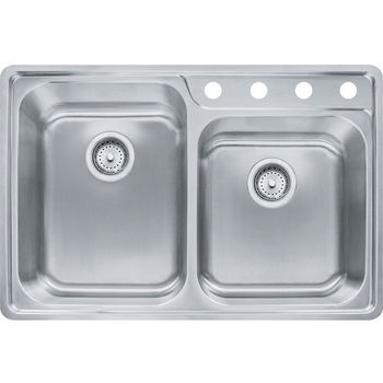 Franke Evolution Offset Double Bowl Drop In Kitchen Sink with A Deck 4 Holes, Stainless Steel, 18 Gauge