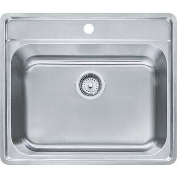 Franke Evolution Single Bowl Drop In Kitchen Sink with C Deck 1 Hole, Stainless Steel, 18 Gauge