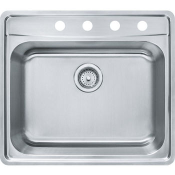 Franke Evolution Single Bowl Drop In Kitchen Sink with C Deck 4 Holes, Stainless Steel, 18 Gauge