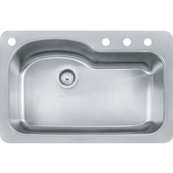 Franke Kinetic Large Single Bowl Drop In Kitchen Sink with 4 Holes, Stainless Steel, 18 Gauge
