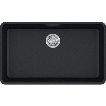 Franke Kubus Large Single Bowl Undermount Kitchen Sink, Granite, Fragranite Onyx