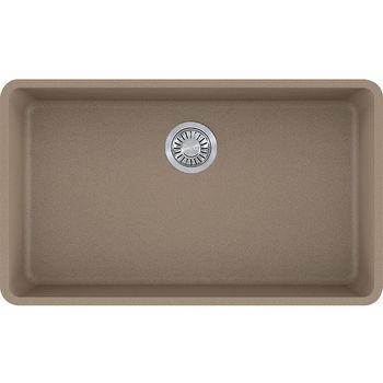 Franke Kubus Large Single Bowl Undermount Kitchen Sink, Granite, Fragranite Oyster