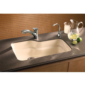 Orca Fireclay Undermount Sinks, Shown in Biscuit