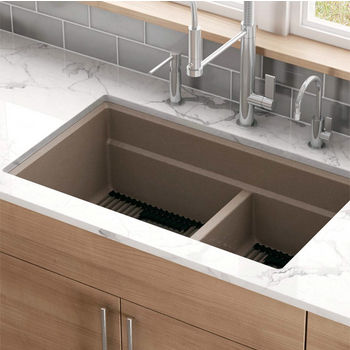 Franke Peak Double Bowl Undermount Kitchen Sink, Granite, Fragranite Champagne