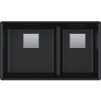 Franke Peak Double Bowl Undermount Kitchen Sink, Granite, Fragranite Onyx