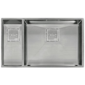 """Franke Peak Double Bowl Undermount Sink Small Bowl Left, Stainless Steel, 31-1/8"""" W x 17-3/4"""" D"""