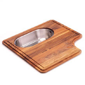 Franke Professional Solid Wood Cutting Board with Polished Stainless Steel Colander