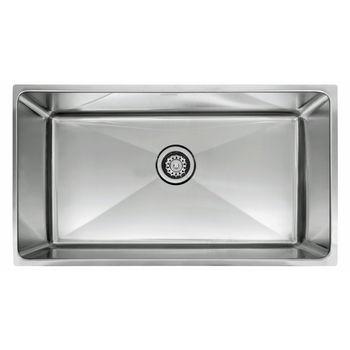 "Franke Professional Series Single Bowl Undermount Sink,16 Gauge, Stainless Steel, 34"" W x 19-5/8"" D"