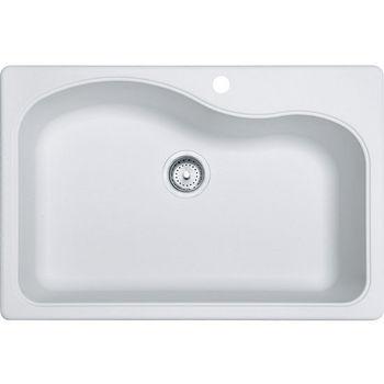 Franke Gravity Single Bowl Drop In Kitchen Sink, Granite, Fragranite Pure White