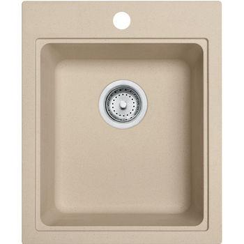 Franke Quantum Single Bowl Drop In Kitchen Sink, Granite, Fragranite Champagne