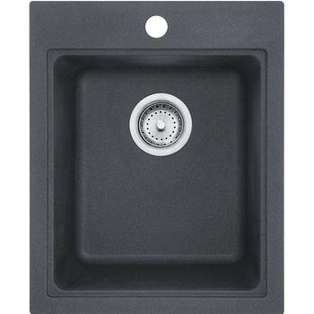 Franke Quantum Single Bowl Drop In Kitchen Sink, Granite, Graphite