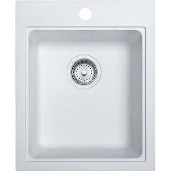 Franke Quantum Single Bowl Drop In Kitchen Sink, Granite, Fragranite Pure White