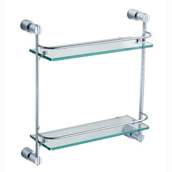 """Fresca Magnifico Wall Mounted 2 Tier Glass Shelf in Chrome, Dimensions: 15-1/4"""" W x 5"""" D x 15-7/8"""" H"""