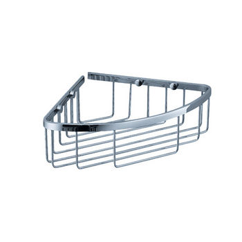 """Fresca Wall Mounted Single Corner Wire Basket in Chrome, Dimensions: 8-1/4"""" W x 8-1/4"""" D x 3"""" H"""