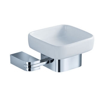 "Fresca Solido Wall Mounted Soap Dish in Chrome, Dimensions: 5-1/4"" W x 4-1/2"" D x 2-1/4"" H"