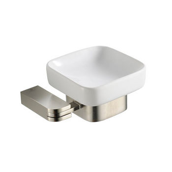 "Fresca Solido Wall Mounted Soap Dish in Brushed Nickel, Dimensions: 5-1/4"" W x 4-1/2"" D x 2-1/4"" H"