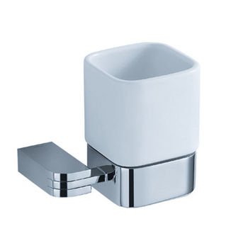 """Fresca Solido Wall Mounted Tumbler Holder in Chrome, Dimensions: 4-1/4"""" W x 3-3/8"""" D x 3-3/4"""" H"""