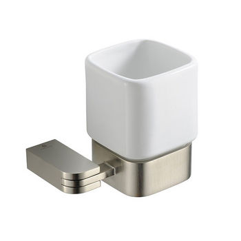 """Fresca Solido Wall Mounted Tumbler Holder in Brushed Nickel, Dimensions: 4-1/4"""" W x 3-3/8"""" D x 3-3/4"""" H"""