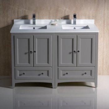 "48"" Gray Double Sink Vanity Cabinets w/ Top & Sinks"